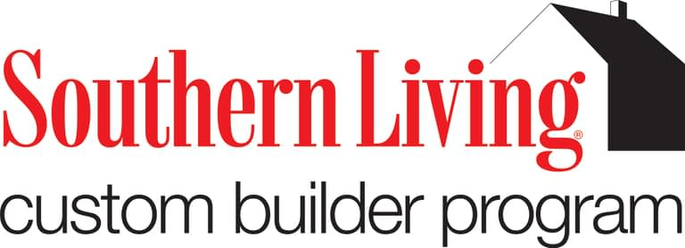 logo for southern living custom builder program, a bright text with a red house.